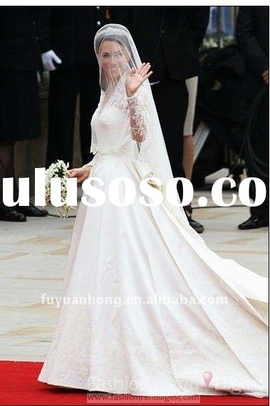 KT0199 kate ladies fashion long train dresses and 2012 long sleeve wedding dresses