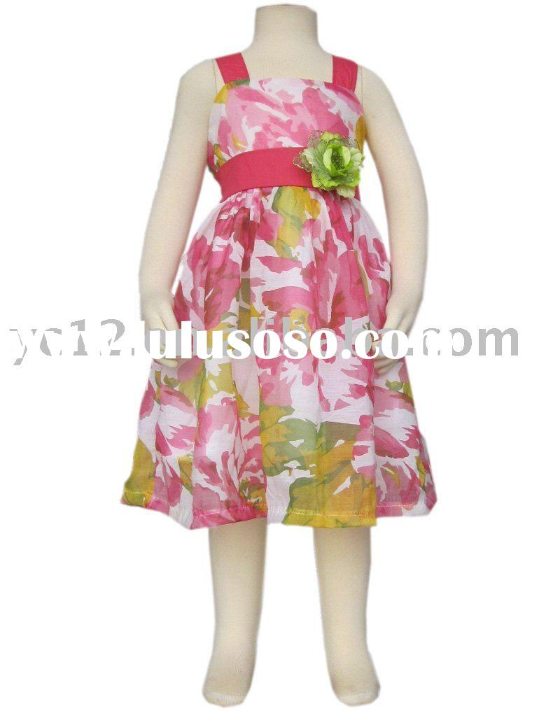 Kids Print and Color Collision with Brooch Spaghetti Strap Dress