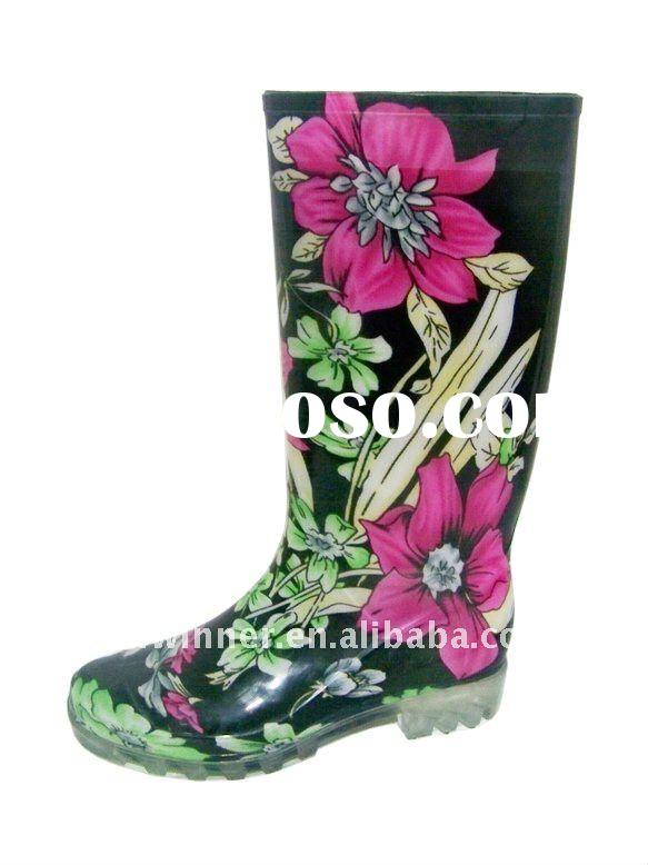 Knee High Girls Rain Boots with Floral Print