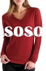 LADIES ECO FASHION LONG SLEEVE V-neck T-SHIRT