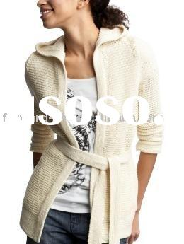LADIES' WOOL CARDIGAN WITH KNITTED BELT