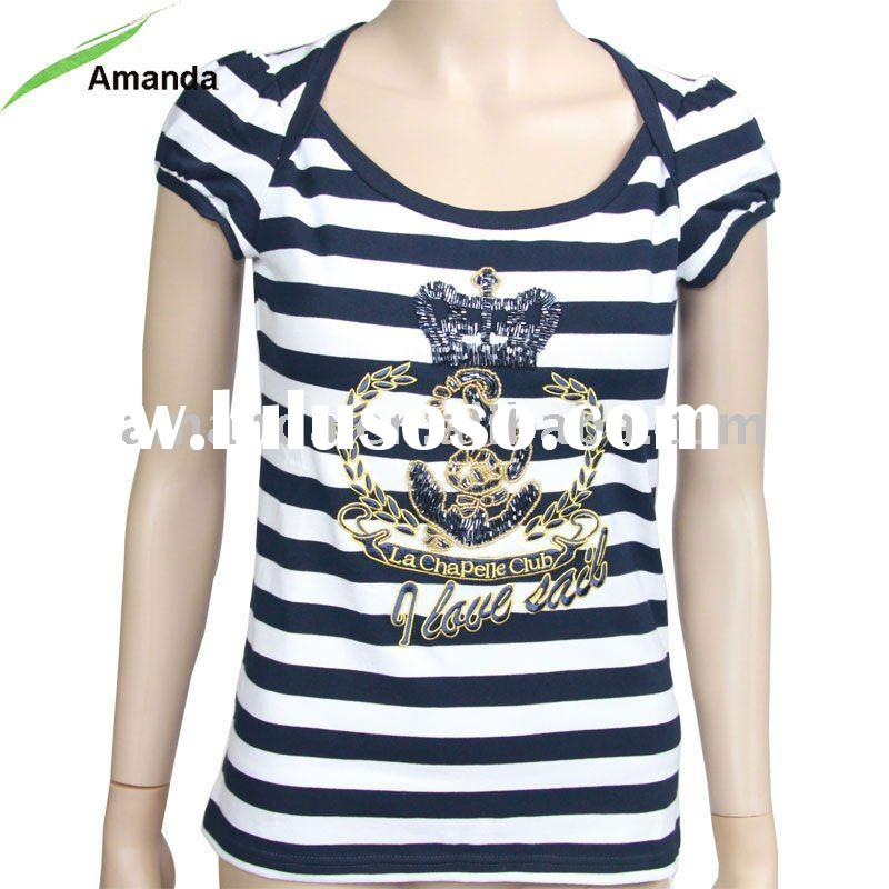 Ladies t-shirt with beaded and yarn-dyed stripe