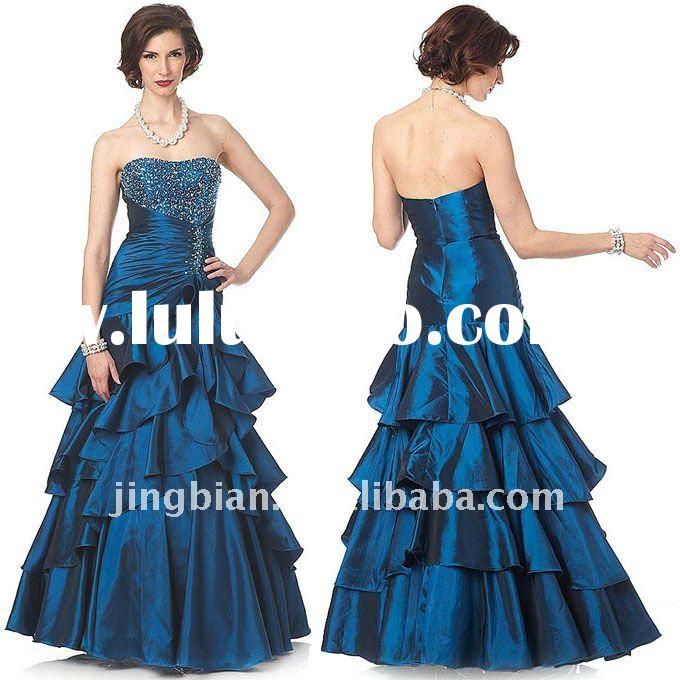 Long and gorgeous ball gown Teal Prom party Dress 2011 Designer Evening Dress ED418