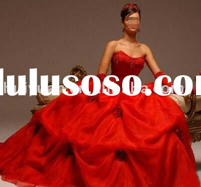 Long train backless stripless red wedding dresses