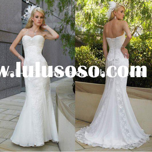 MG121 Gathered Sweetheart Mermaid Lace Wedding Gown
