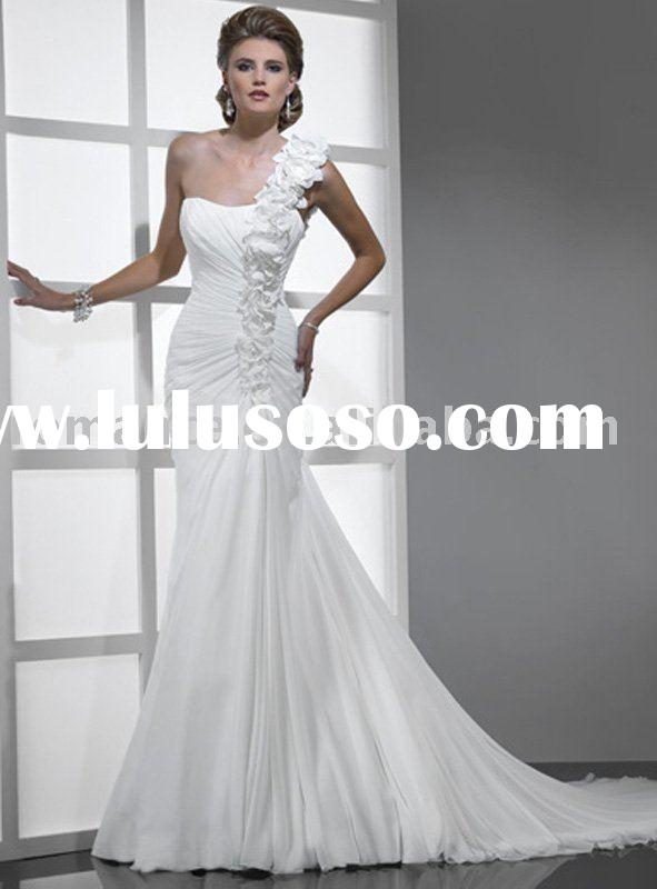 MG567 2011 Collection Chiffon One-Shoulder Hand Flowers Wedding Dress