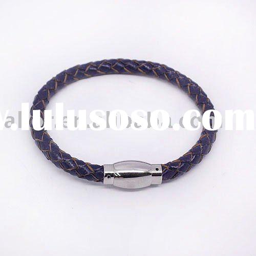 Magnetic clasp matching round leather cord bracelet
