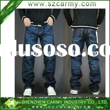 Men's Whole Price Sell Fine Quality 100% Cotton Jeans Blue Fitted Straight Trousers