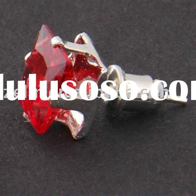 Mens Earring Ear Stud Stainless Steel Red Onyx 7mm ,ear jewelry,body jewelry