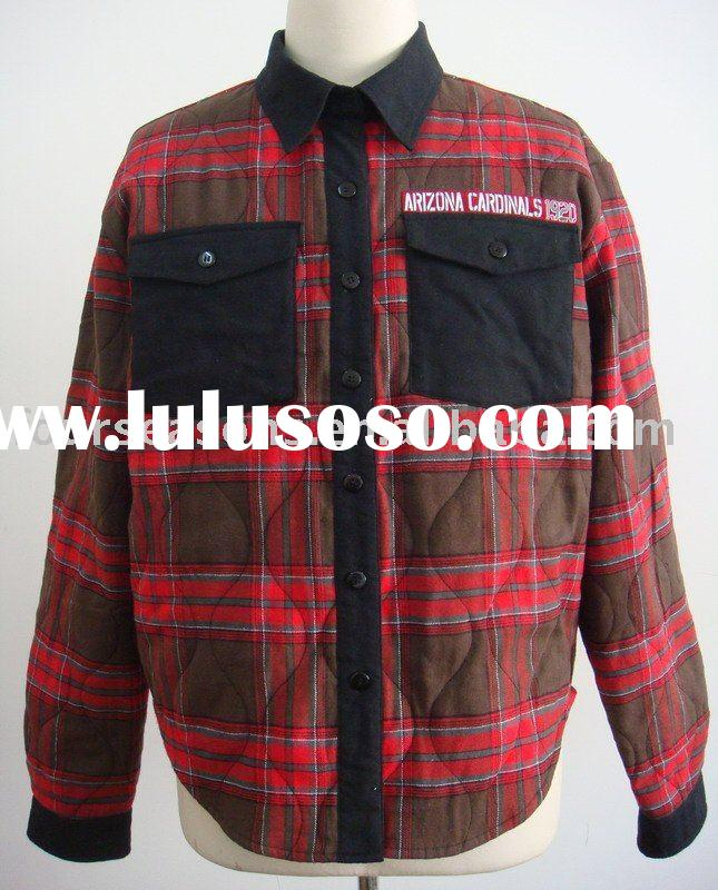 Mens Long sleeve quilted plaid Flannel shirt