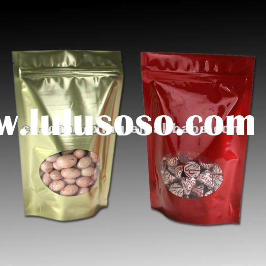 Metallized stand up laminated aroma coffee bag with valve and oval window
