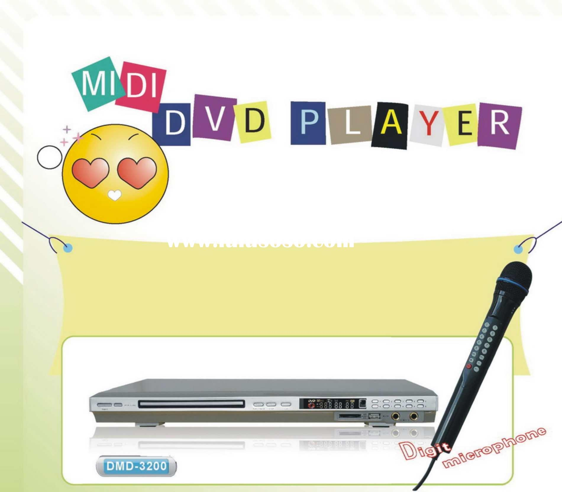 Midi DVD Karaoke Player with inbuilt card reader+USB+2pcs Wired Digit Mic (optional)(DMD-3200)