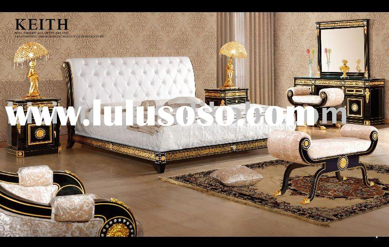 NEW ITEM-Luxury classical black& gold colour home bedroom furniture,king size bed,night stand,st