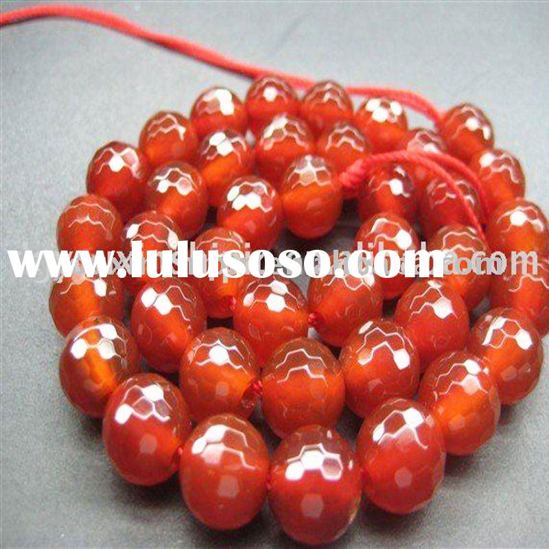 Natural 10mm Faceted Red Agate Gemstone Loose beads