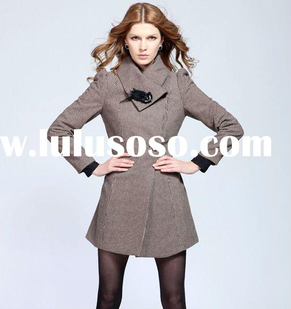 New Arrival Long Sleeve Roll Collar Viscose Fashion Ladies Wool Coat