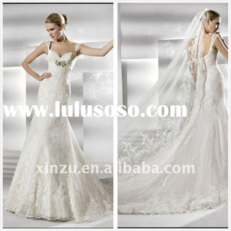 New Arrival Strap Mermaid Lace Latest Wedding Gown Designs T-3001