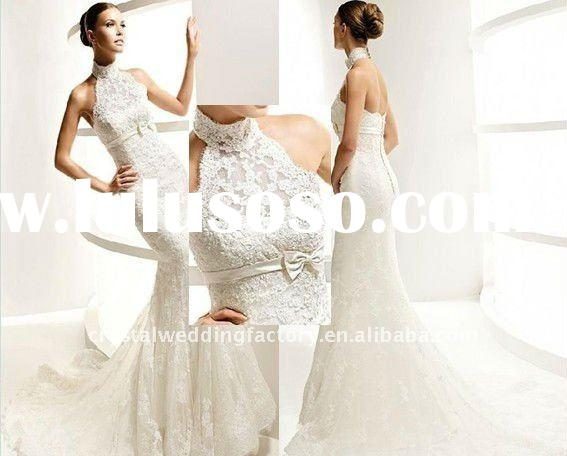 New arrival high collar halter lace A-line custom-made chapel train wedding dresses CWFaw1498