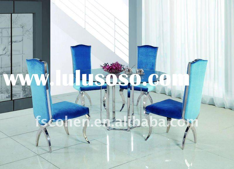 New products for 2012 dining table tempered glass top and stainless steel frame