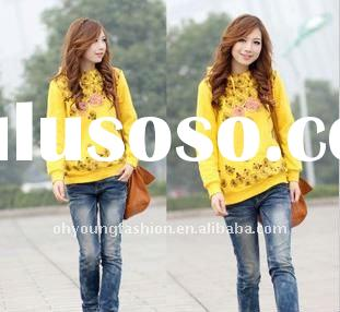OEM Service Girl's yellow CVC 65%cotton 35%polyester fleece Yarn dyed long sleeve lovely 240