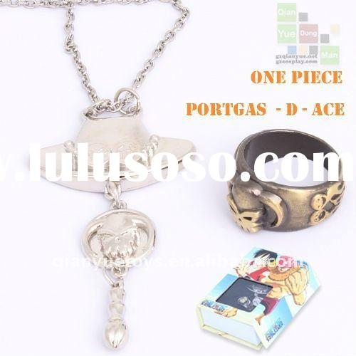 One Piece Ace zinc alloy pandent necklace + ring gift set