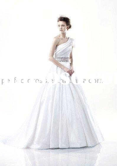 One shoulder Crystal wedding dress with black butterfly backNSW0844