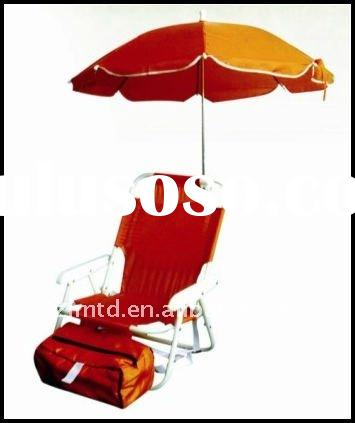 Outdoor Foldable Beach Chair Low Picnic Chair Picnic Foldable Chairs with Umbrella & Icebag