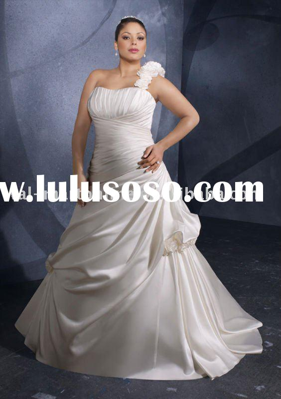 PW081 One shoulder Bridal Dress Plus Size Wedding
