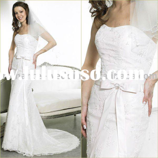 Pe0081 Strapless Butterfly Slim Lace White Wedding Dress
