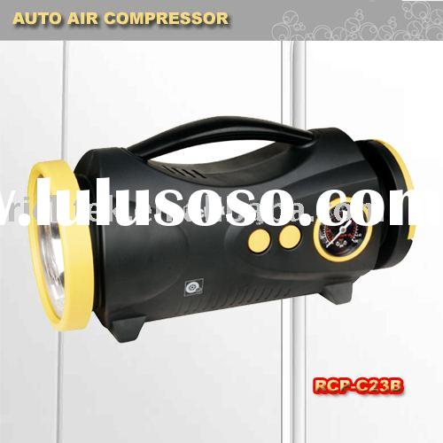 Portable Car Air Compressor (RCP-C23B, Battery included, mechanical gauge, LED White Light + Red FLA