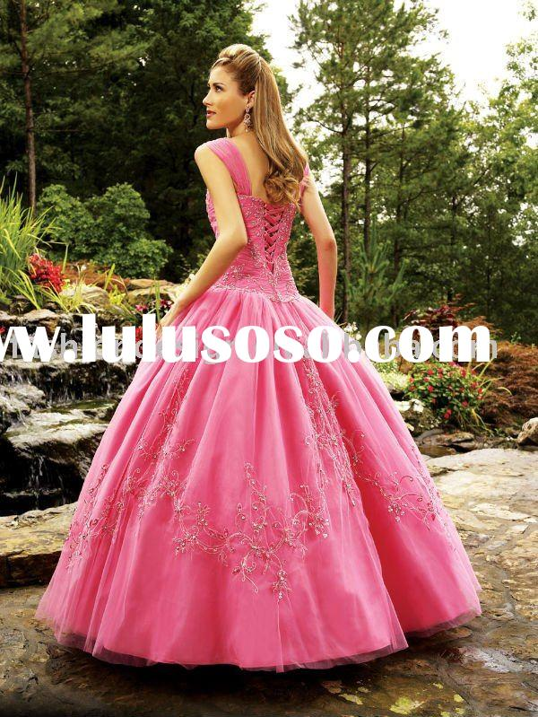 QB132 Hot pink embroidery with beaded quinceanera dress