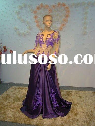 REAL373 2011 gorgeous long sleeves imitate silk appliques evening dress