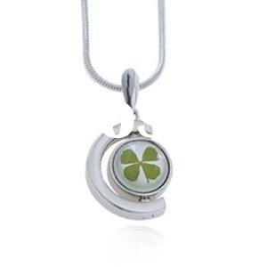 Real Irish Four Leaf Clover, Symbol of Good Luck, Half Circle Pendant Necklace Fashion Jewelry, St.P