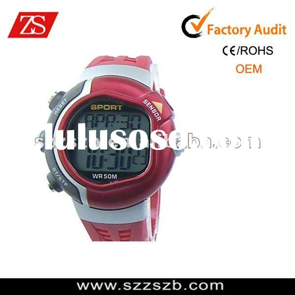 Red Sport Outdoor Pulse Counter Calories Heart Rate Monitor Watch