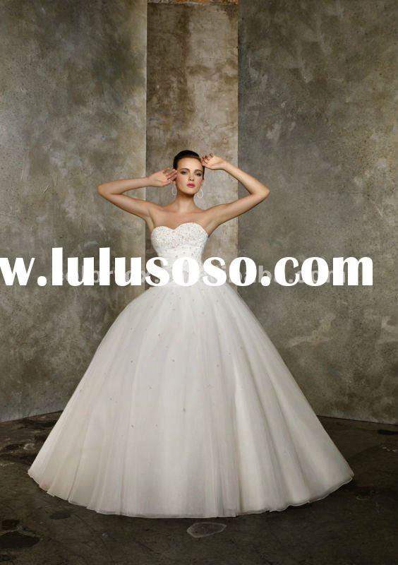 Romantic Beading On Tulle Corset Back Ball Gown Wedding Dress