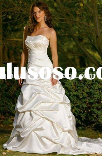 Satin White Lace Wedding Dress Strapless Bridal Gowns 2011 SFWD045D