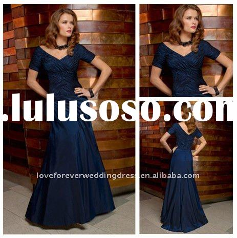 Short Sleeves Taffeta Wedding Mother of the Bride Dress