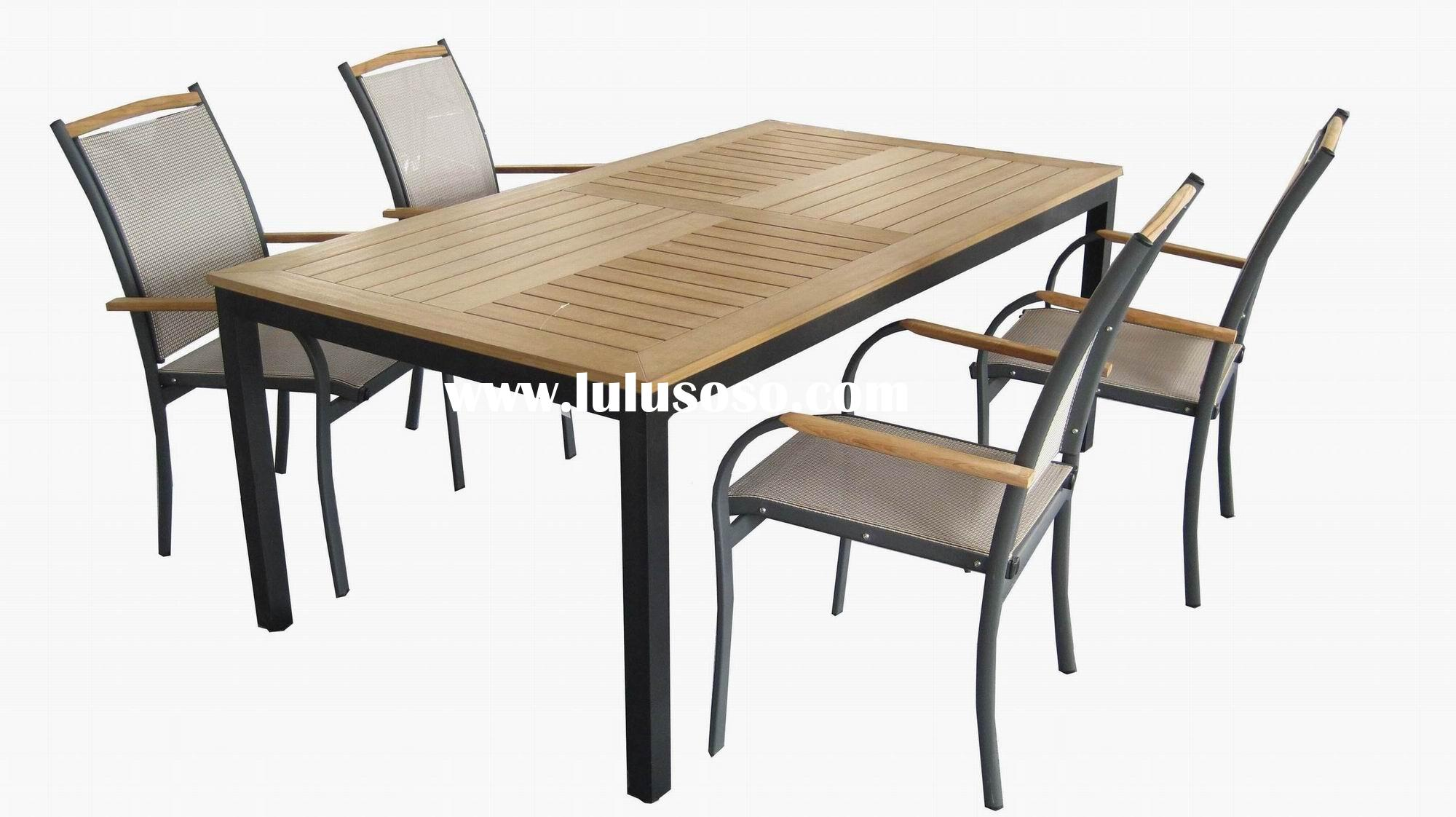 Solid Wood top Aluminum table and chair outdoor furniture