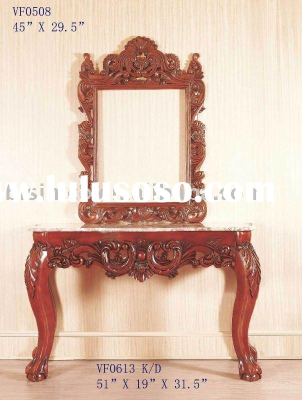 Solid wood console table with mirror,console sets,antique home furniture