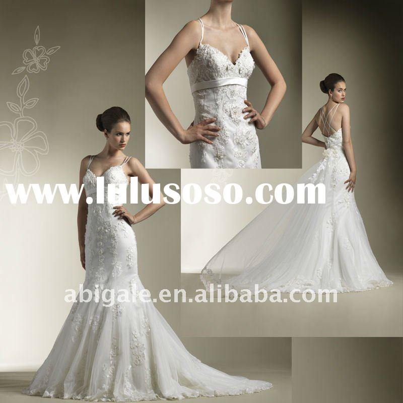 Spaghetti Strap Sweetheart Lace Tulle 2012 Bridal Wedding Gown