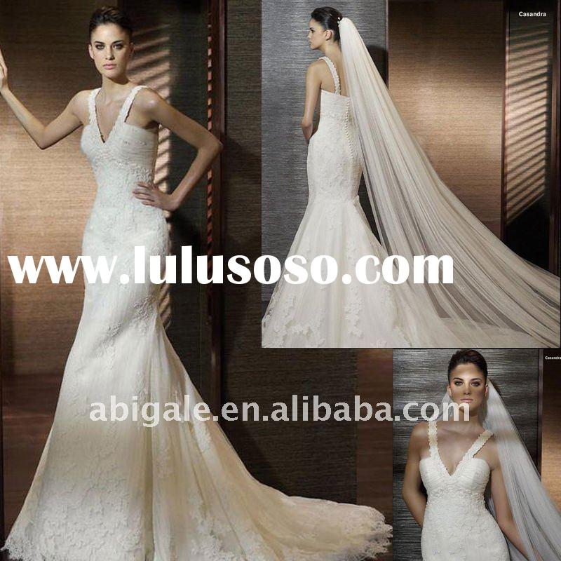 Spaghetti strap V-neck Mermaid Cathedral train Lace Bride Wedding Gown(PN10121)