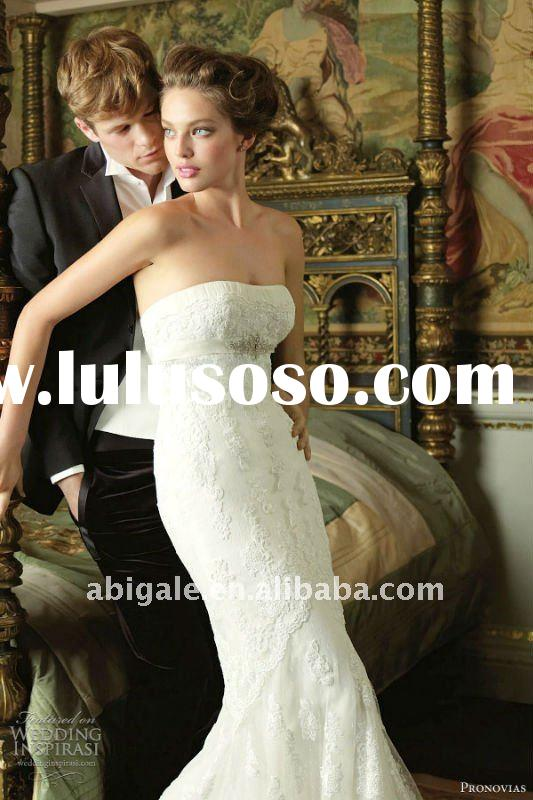 Strapless Mermaid Cathedral train Lace Wedding Dress Gown(PN10120)