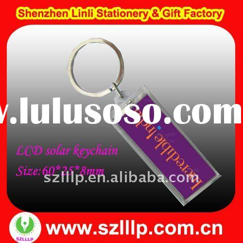 Supply personised logo LCD named led solar flashing key chain