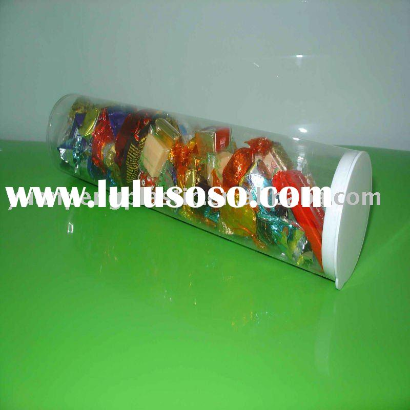 Transparent clear plastic tubes for candy,clear plastic cylinder tube