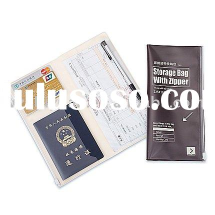 Travel Document Holder with passport holder and card holder and pen loop/Zippered Closure
