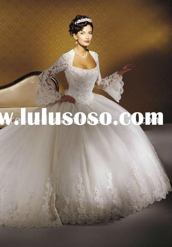 Tulle long sleeve lace wedding dresses 2011 beaded