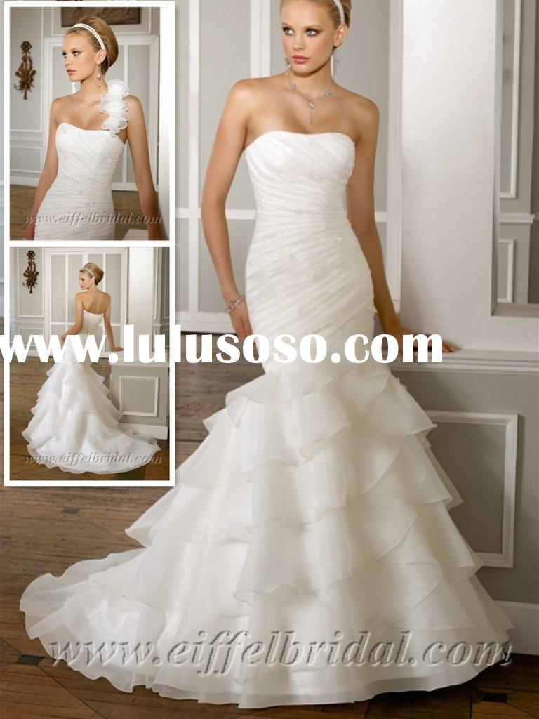 WDS3804 Removable strap /strapless mermaid organza wedding dresses