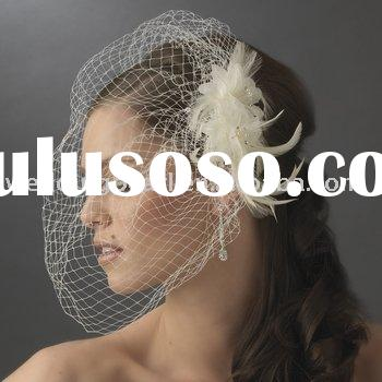 WEDDING FEATHER FASCINATORS WITH CAGE VEIL WDF005