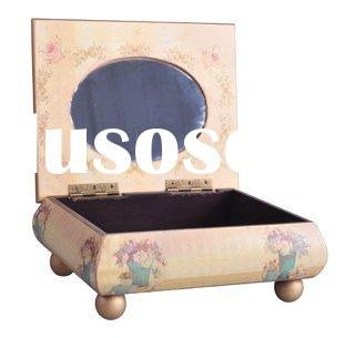 Wood Craft Oriental Jewelry Box With A Built-in Mirror(28-026)