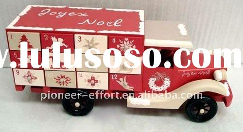 Wooden Christmas advent calendar, truck design