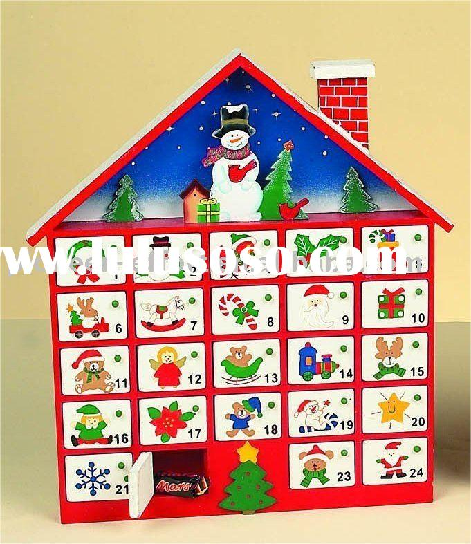 Wooden christmas advent calendar, house design